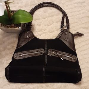 Black suede hand bag with brown leather trim